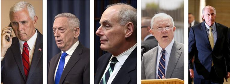 由左至右依次为:美国副总统迈克·彭斯、国防部长詹姆斯·马蒂斯、白宫幕僚长约翰·凯利、司法部长杰夫·塞申斯、国家情报总监丹·科茨。