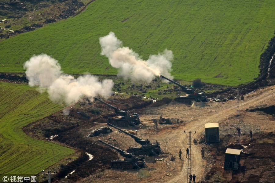 """土耳其军队""""橄榄枝行动"""" 炮轰叙库尔德武装"""