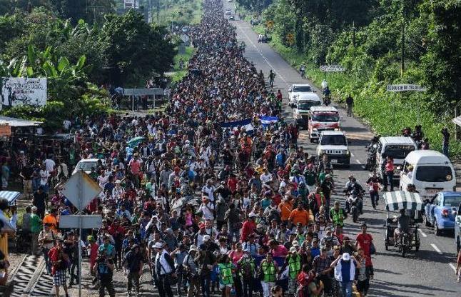 """图为浩浩荡荡的""""移民大篷车队""""。"""