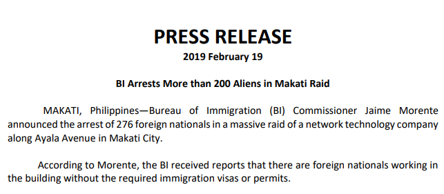 菲律宾移民局公告(菲律宾移民局官网)