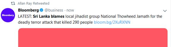 斯里兰卡:连环爆炸事件由极端组织NTJ策划