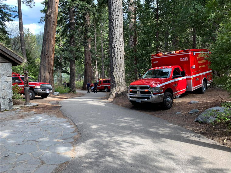 急救车辆在事发后迅速抵达鹰瀑布。(图源:NBC新闻)