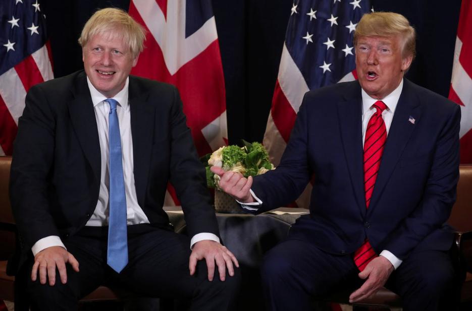 英国首相鲍里斯·约翰逊与美国总统唐纳德·特朗普(路透社)