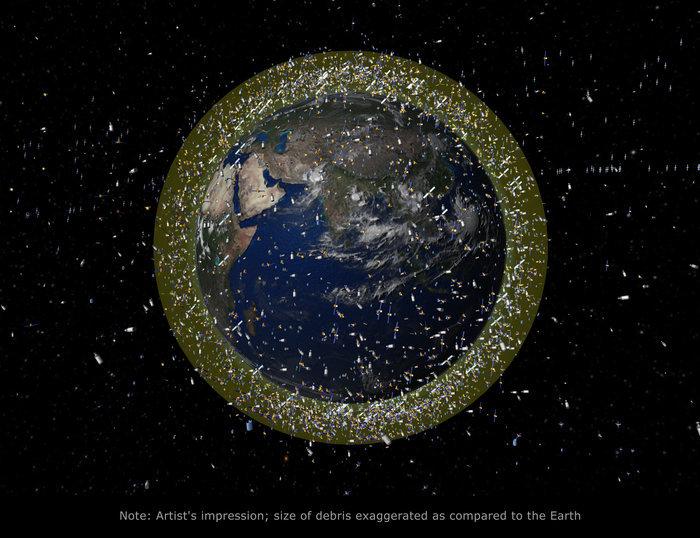 """围绕在地球周围的太空垃圾(日本网站""""sorae"""")"""