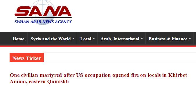 叙利亚村民拦截美军装甲车队 一名平民遭射杀