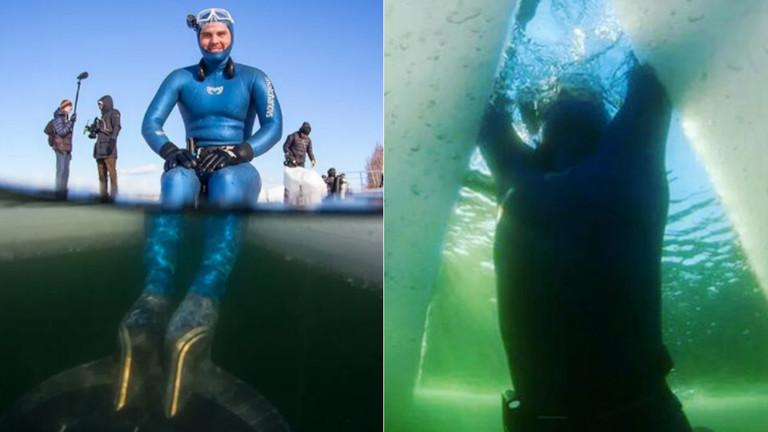 一口气游181米!俄男子冰下潜泳破世界纪录,纪念潜水名将母亲