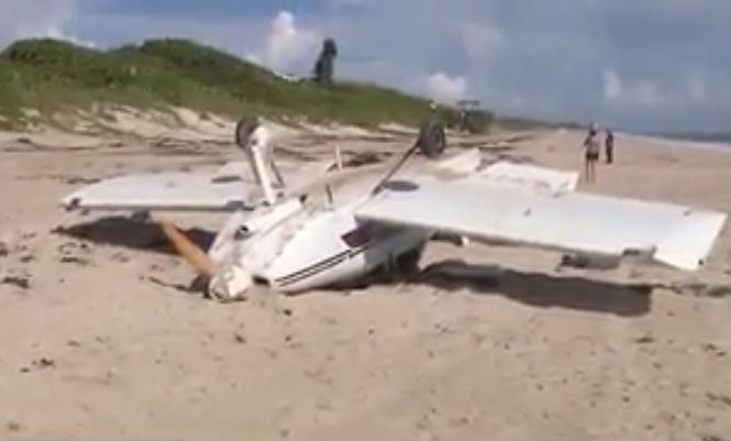 一架塞斯纳-172飞机在蒙大拿州密苏拉市坠毁。视频截图