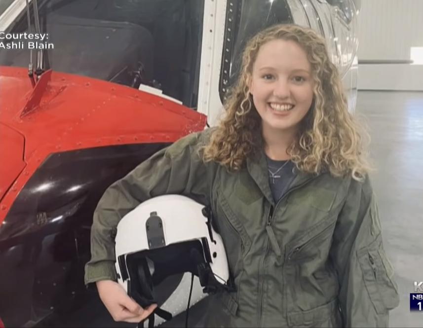 19岁少女开直升机灭火(NBC新闻)