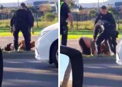 太暴力!澳大利亚警察脚踩逃跑病人头部 还用汽车直接撞