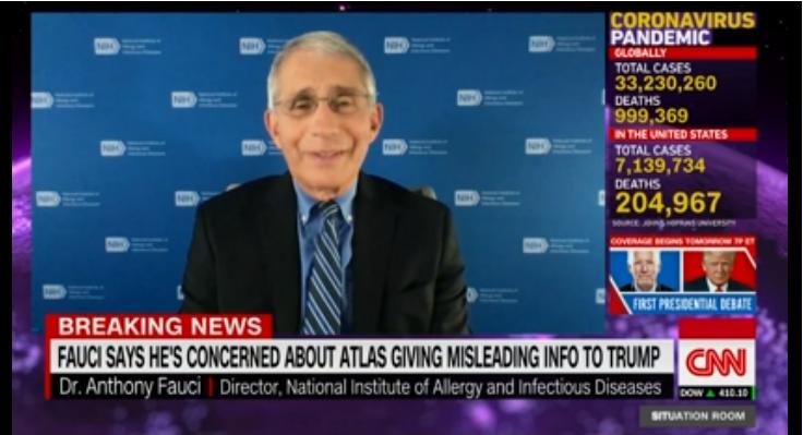 福奇公开斥责阿特拉斯提供错误信息。(图截自CNN节目)