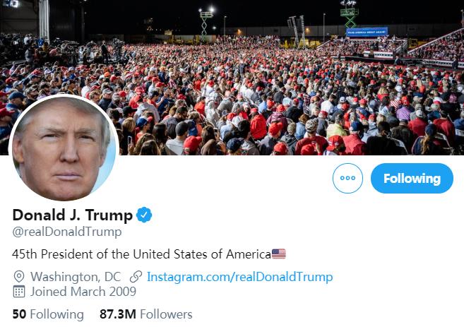 特朗普推特账号截图