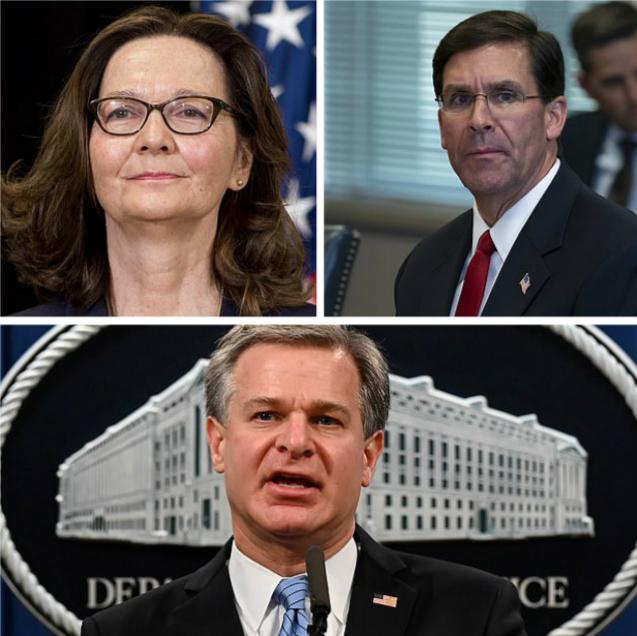 美国中央情报局局长哈斯佩尔(左上,图:法新社)、美国防长埃斯珀(右上,图:美联社)、美国联邦调查局局长克里斯托弗·雷(下,图:路透社)