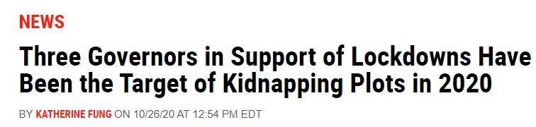 美媒标题称,2020年美国已有三位州长因支持封锁措施成为绑架目标。