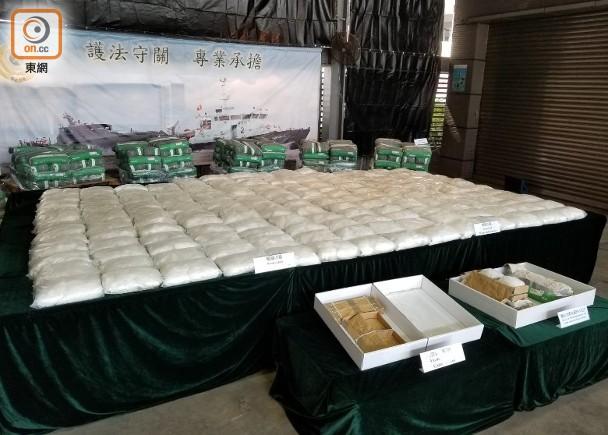 香港海关侦破价值近3亿港元贩毒案 水泥货柜藏半吨冰毒