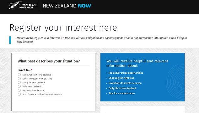 新西兰移民网站页面