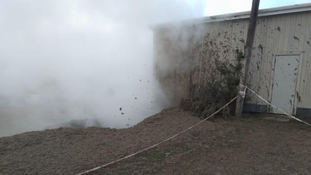 租客在后院中看到火山活动产生的雾气(CNN)