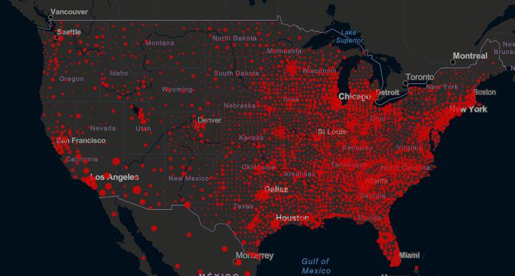 美国疫情分布图(约翰斯·霍普金斯大学)