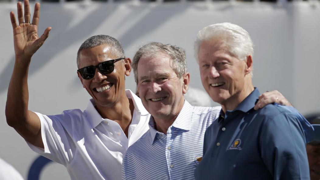 奥巴马、小布什和克林顿(美联社)