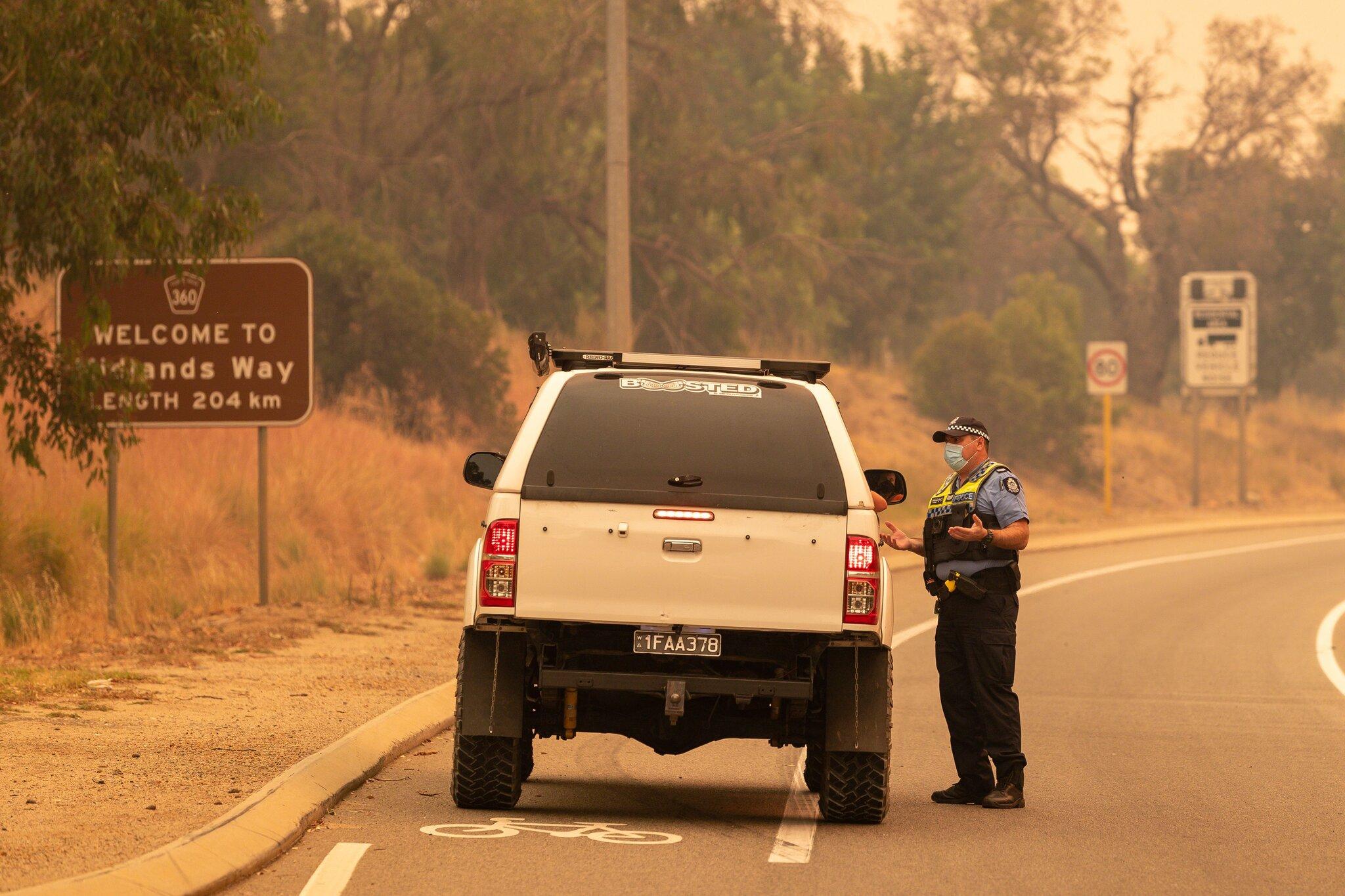 珀斯市的一处警方检查站(美联社)