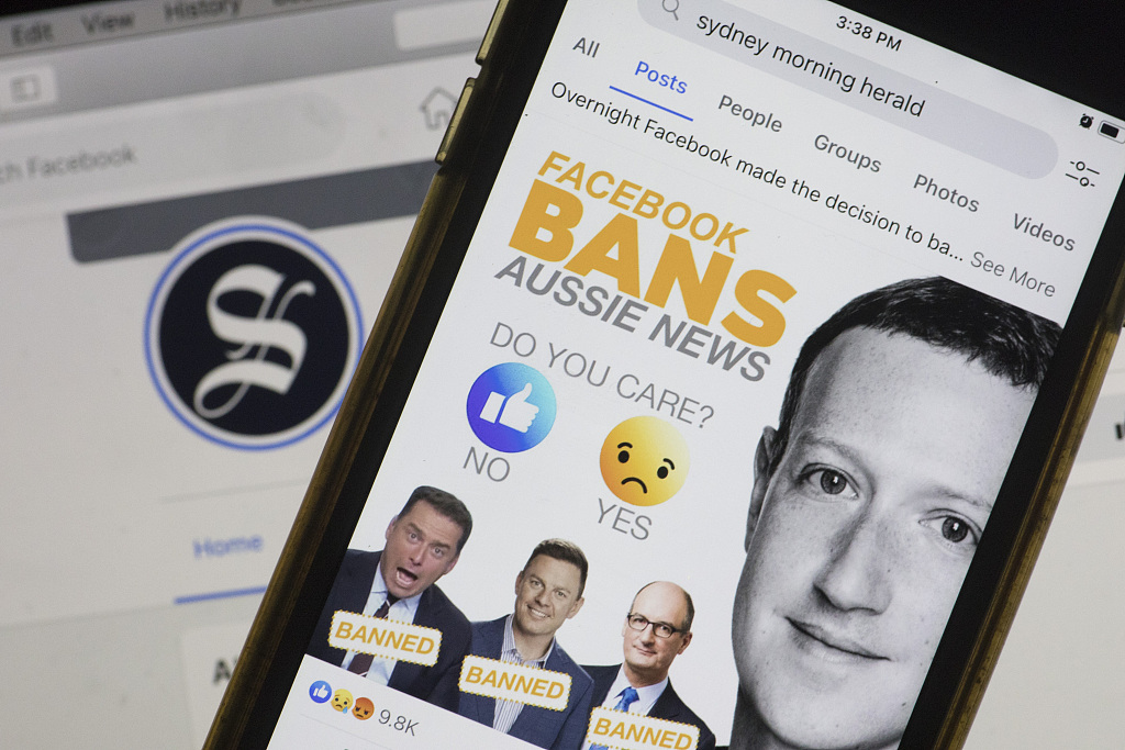 """""""脸书""""禁止澳大利亚用户使用其新闻服务"""