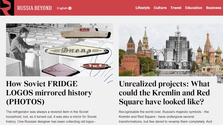 """""""头条新闻之外的俄罗斯""""网站首页截图"""