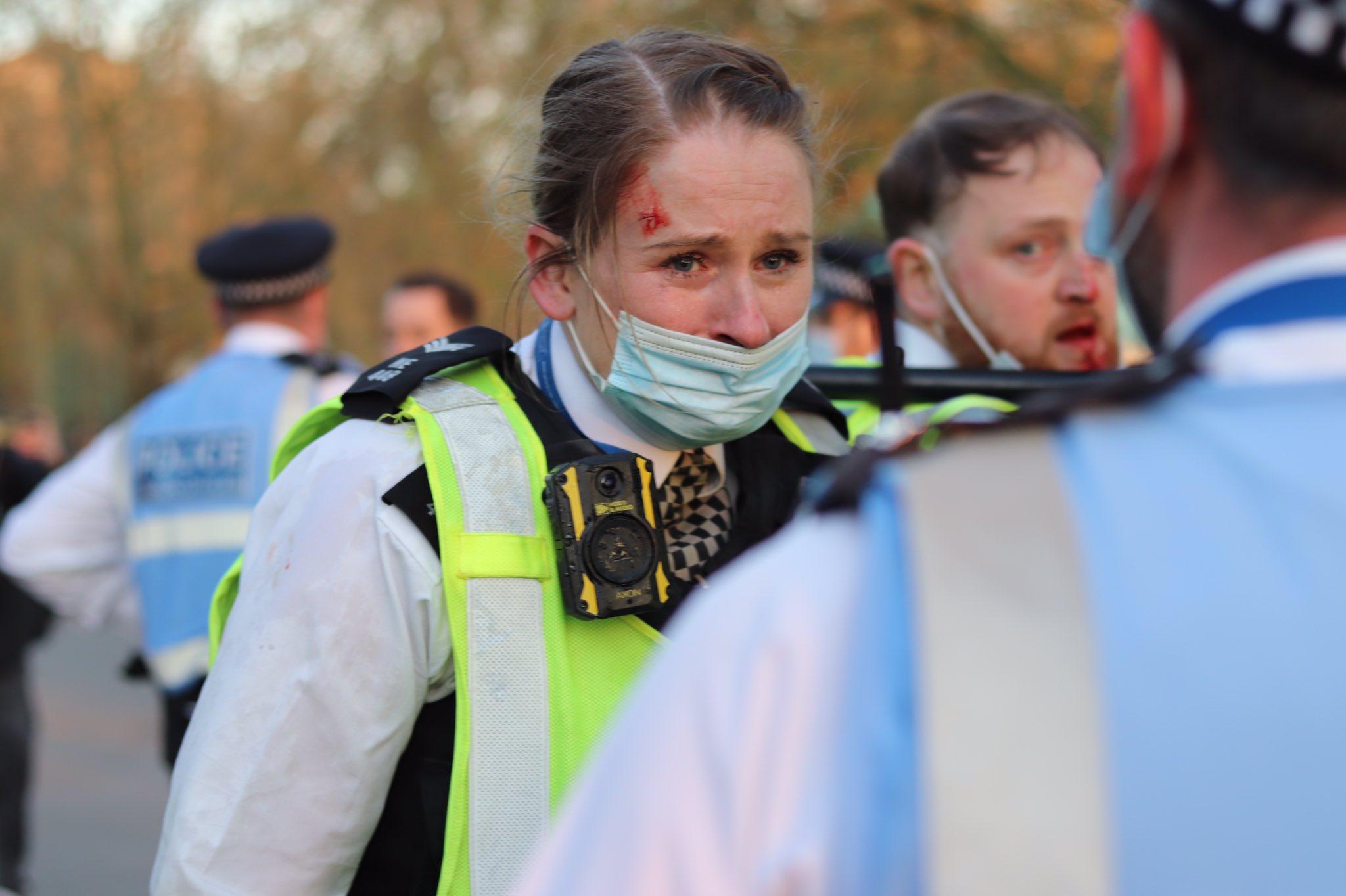 伦敦海德公园暴力冲突(推特截图)
