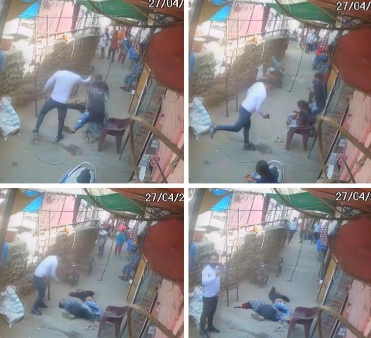 瓦西姆射杀妻子监控录像(印媒报道截图)