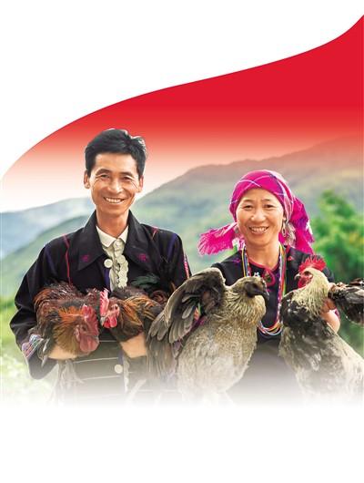 云南省西双版纳傣族自治州勐海县西定乡村民沙内(右)和丈夫在申请到了8万元创业贷款后,开始经营生态养鸡场,走上致富道路。图为2020年9月18日,沙内和丈夫展示他们饲养的鸡。