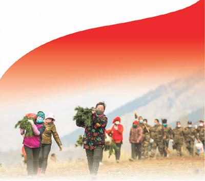 2020年3月6日,山东滕州市滨湖镇村民在该镇黄门山上植树。
