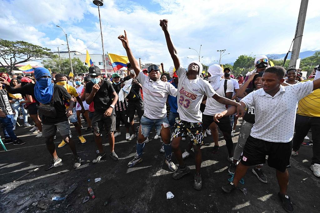 资料图:哥伦比亚首都示威游行