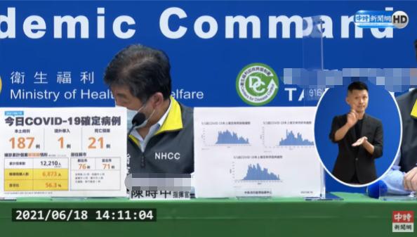 台湾新增187例本土病例 累计死亡病例超500例
